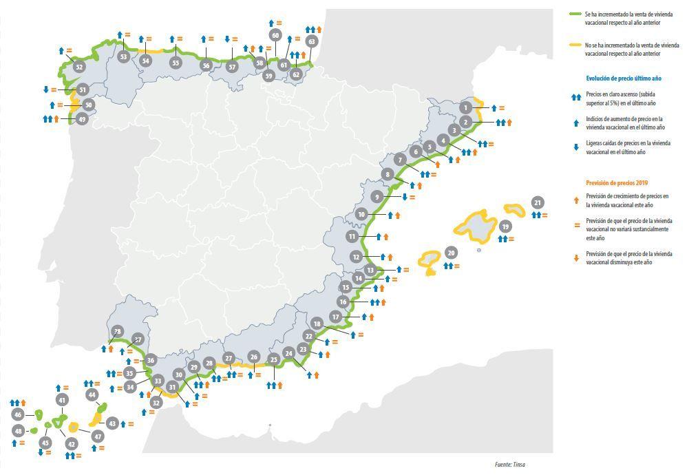Tinsa precio vivienda en la costa 2019 -España